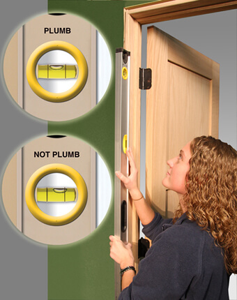 Checking door frame for plumb & Door Troubleshooter   Midwest Manufacturing