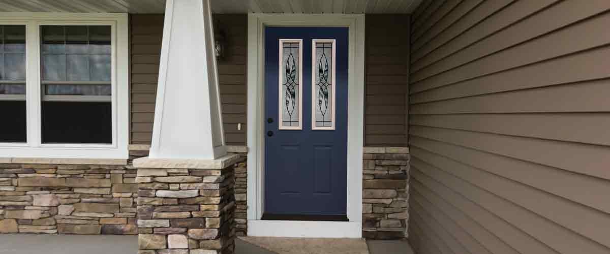 6 Panel Steel Exterior Door. Prefinished In Navy Blue